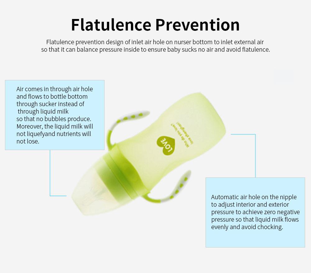 Silica Gel Nursing Bottle EXW, Wide Mouth Not Breakable Nurser Flatulence Prevention Glass Feeding Bottle for New-born Babies 2