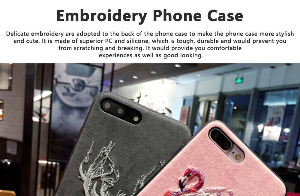 Embroidery Cartoon Flamingo Deer Phone Case, Luxury Soft PC+Silicone Case Cover for iPhone, Vivo, Oppo, Huawei, Creative Stylish Phone Cover 0