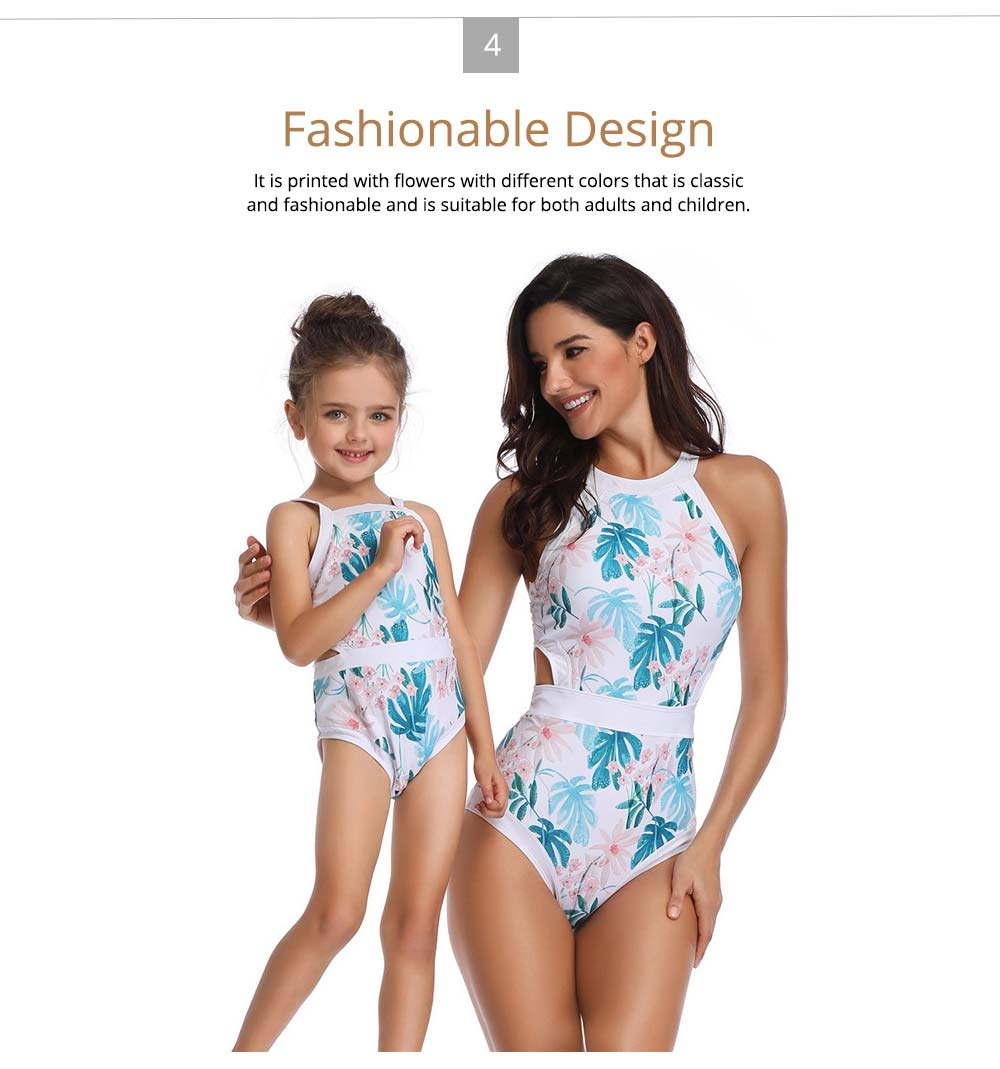 Parent-child Fashionable One-piece swimsuit, Family Matching Mommy and Me Floral Bikini Bathing Suits 4