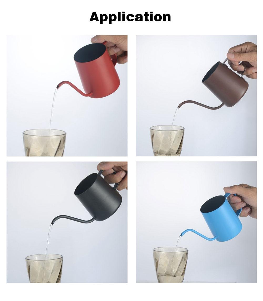 Stainless Steel Drip Coffee Maker Hand Drip Coffee Pot Narrow-mouthed Drip Coffee Urn Long Mouth Teflon Coffee Maker 9