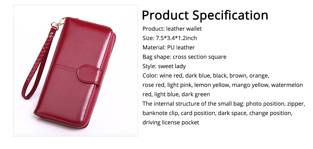 Women Handbag Long Zipper Phone Case Pouch, Fashion Clutch for Female, High-quality Oil Wax Leather Wallet Cash Card Bag 2019 6