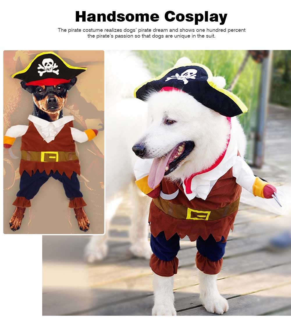 Pirate Costume for Dogs, Halloween Days Dog Clothes Pet Costumes  1