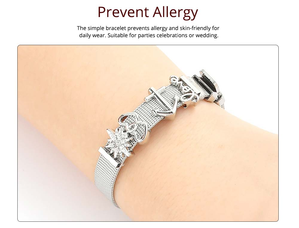 Simple Heart Shape Stainless Steel Bracelet Real Gold Plating for Couple and Fashion People 1
