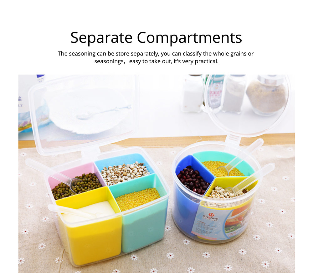 Seasoning Jar Multiple Grid Condiment Bottles Plastic Container For Household Kitchen Multipurpose Storage Box 1