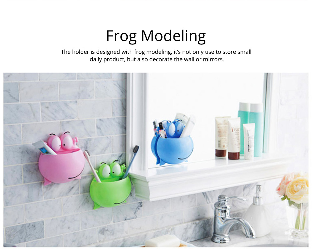 PP Wall-mounted Toothpaste Container, Toothbrush Holder Frog-modern for Bathroom Kitchen 4