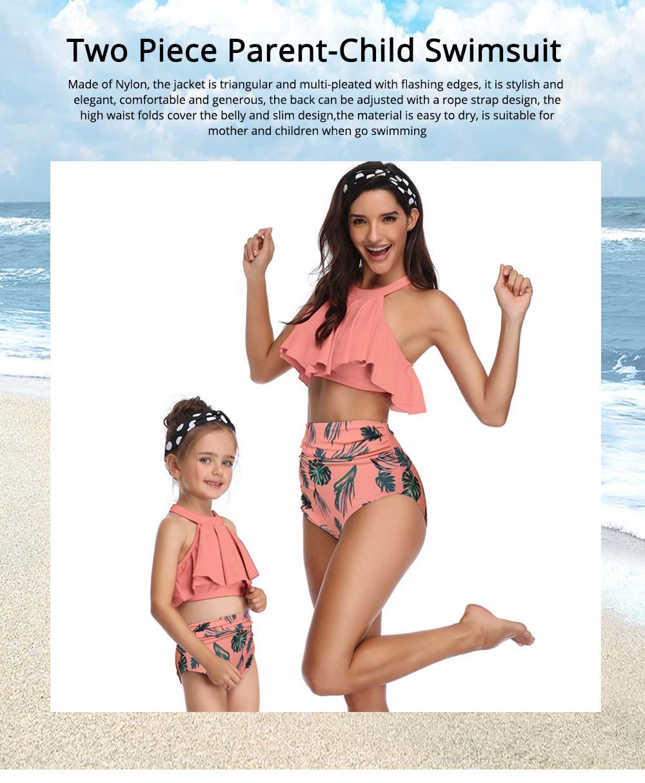 New Style High Waist Ruffle Two Piece Women Girl Fashion Parent-Child Swimsuit Swimwear 0