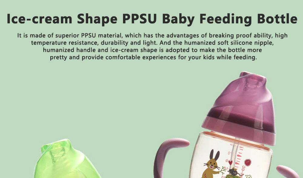 Purple Rabbit Ice-cream Shape PPSU Baby Feeding Bottle, Newborn Infant Learn Milk Water Nursing Feeding Bottle with Handle 0