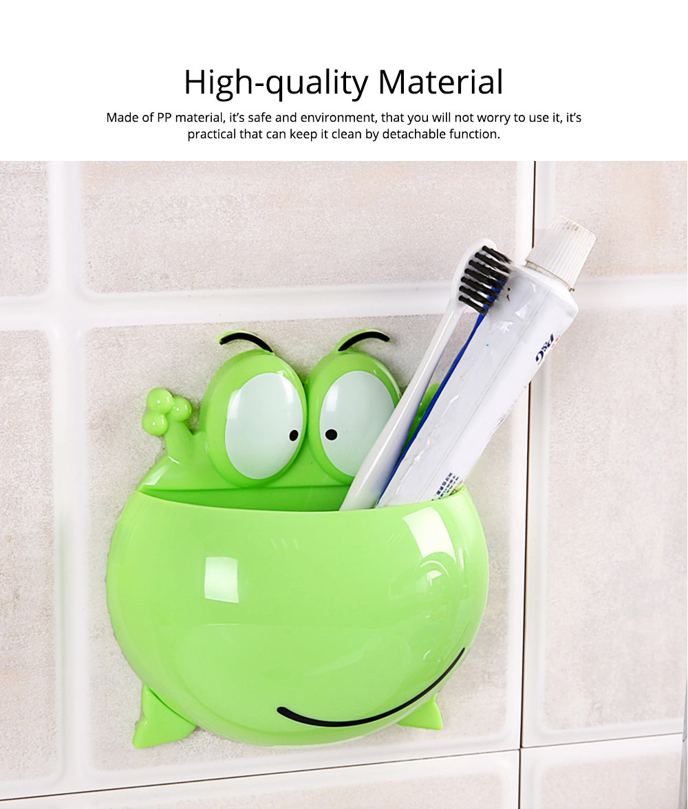PP Wall-mounted Toothpaste Container, Toothbrush Holder Frog-modern for Bathroom Kitchen 1