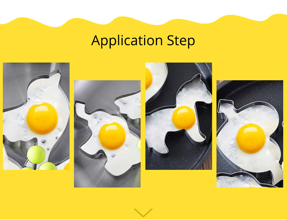 Fried Egg Ring Creative Cartoon Kitchen Tools Stainless Steel Omelette Model 4-piece Non-stick With Handle Omelette 8