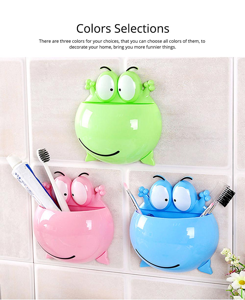 PP Wall-mounted Toothpaste Container, Toothbrush Holder Frog-modern for Bathroom Kitchen 8