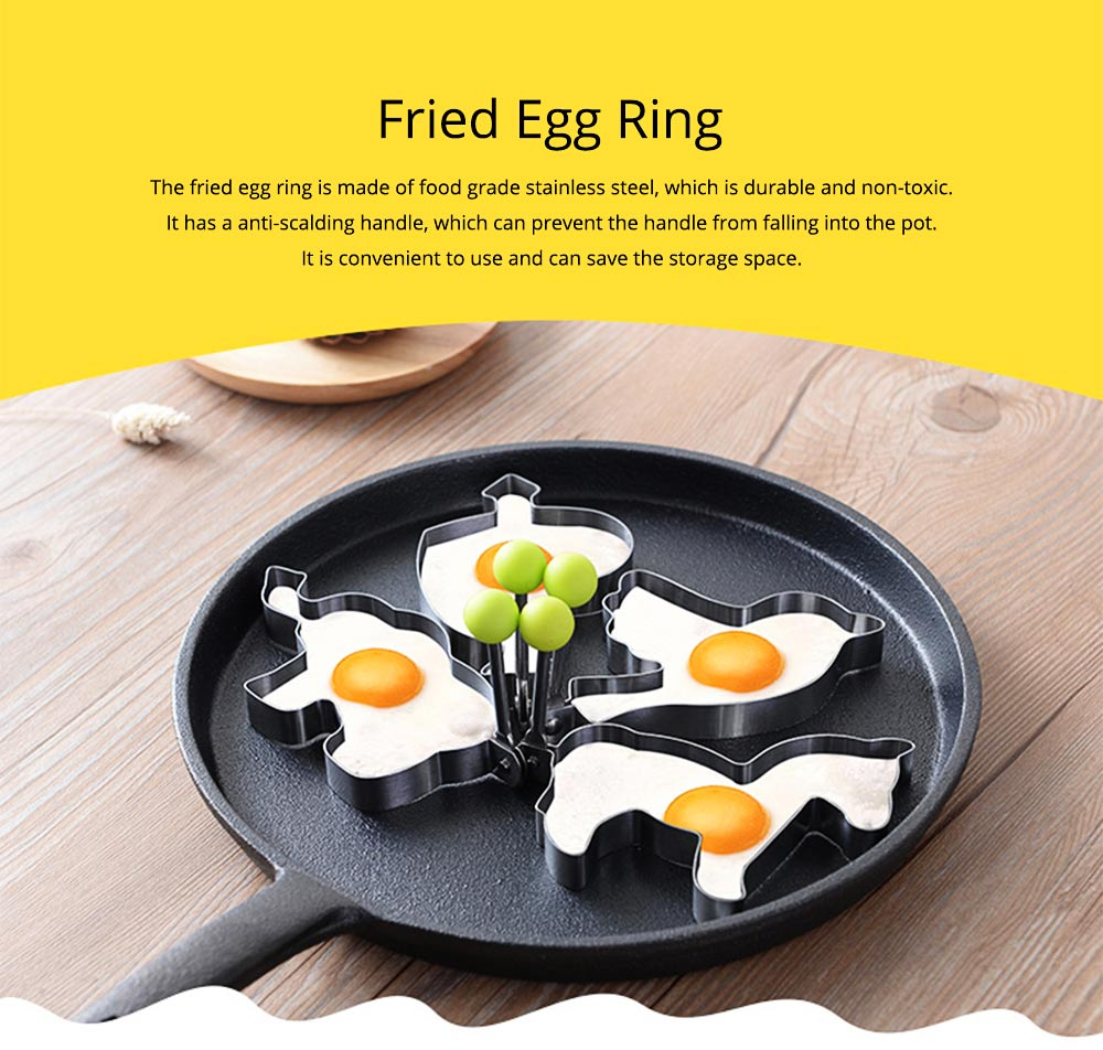 Fried Egg Ring Creative Cartoon Kitchen Tools Stainless Steel Omelette Model 4-piece Non-stick With Handle Omelette 0