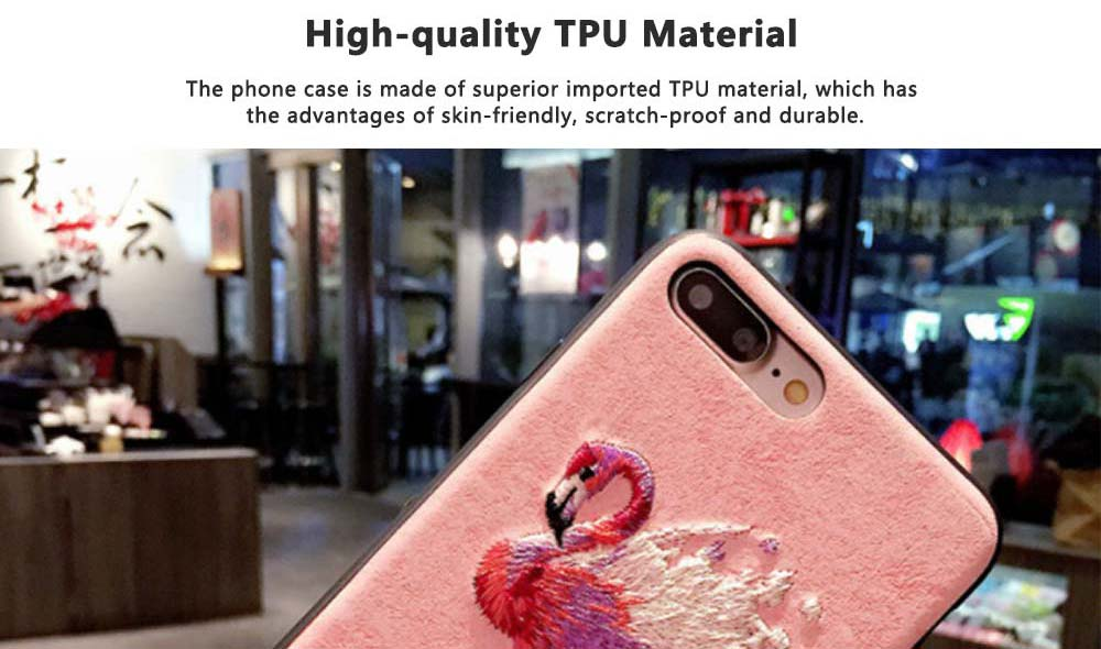Embroidery Cartoon Flamingo Deer Phone Case, Luxury Soft PC+Silicone Case Cover for iPhone, Vivo, Oppo, Huawei, Creative Stylish Phone Cover 4