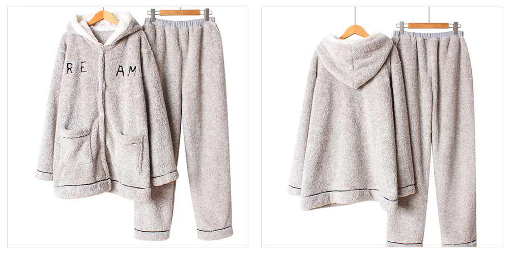 Sleepwear Lovable Nightgown for Couples Girl Boy Men with Thick Coral Velvet Bundle Pajamas Winter 7