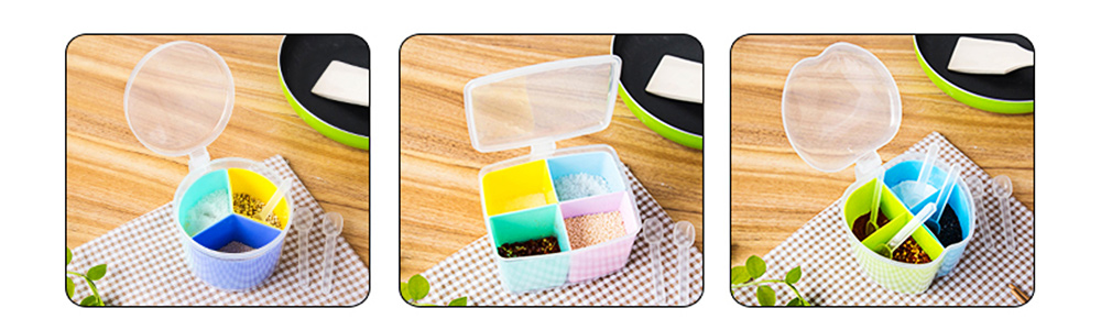 Seasoning Jar Multiple Grid Condiment Bottles Plastic Container For Household Kitchen Multipurpose Storage Box 8