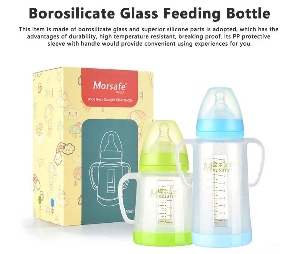 Broad Bore Borosilicate Glass Feeding Bottle, Infants Feeding Bottle With PP Protective Sleeve 0