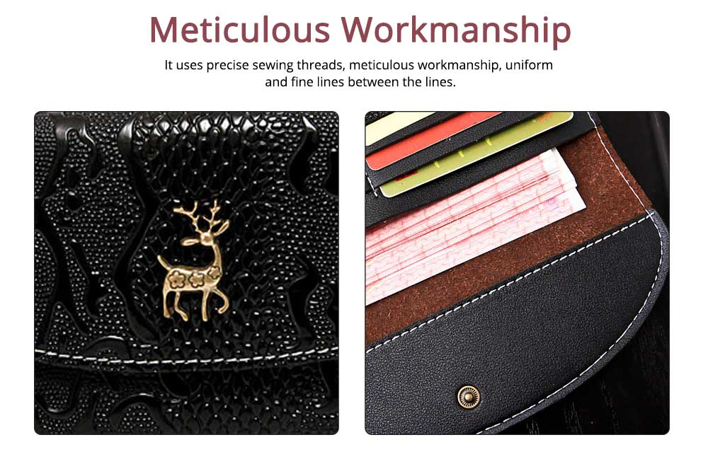 Two-fold Snake Leather Clutch, Ladies Sleek Minimalist Buckle Wallet with Card Holder, Coins Pocket, Driving License Card Slot 3