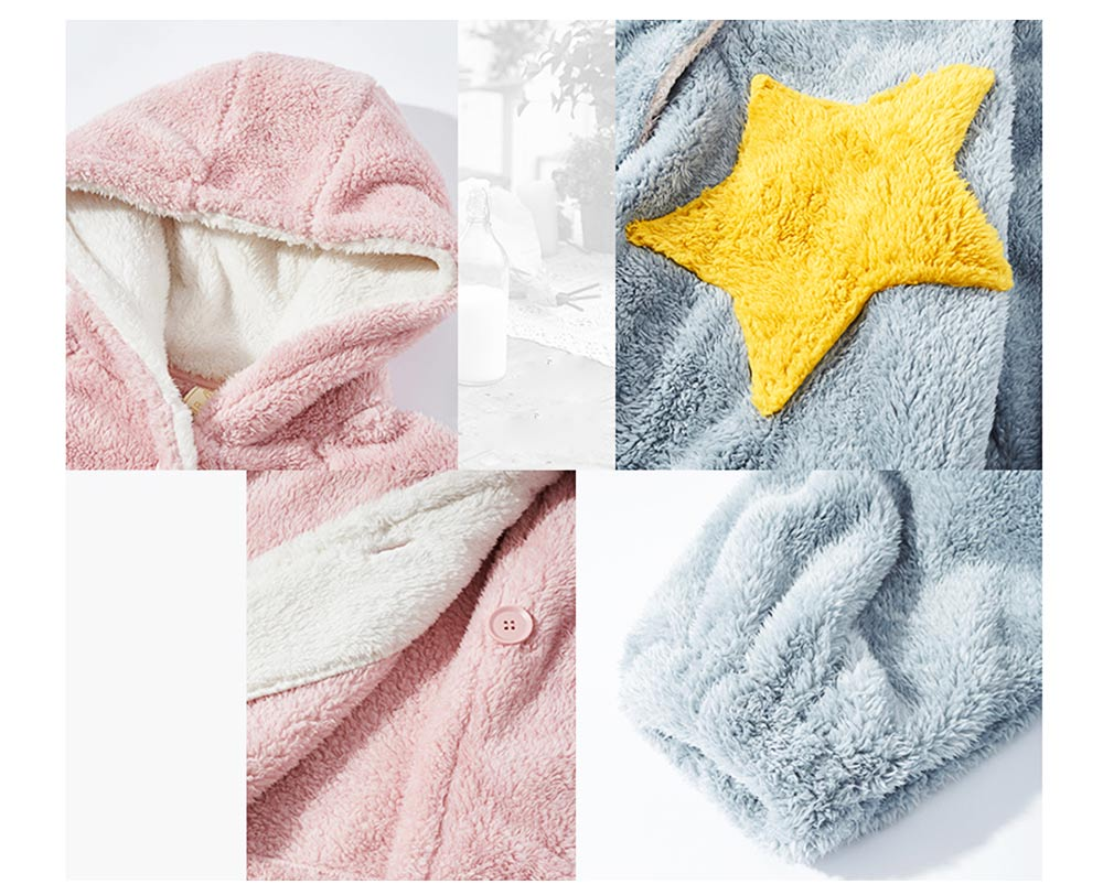 Nightclothes Breathable Sleepwear Long Style for Women Girl Flannel Winter Pajamas 2