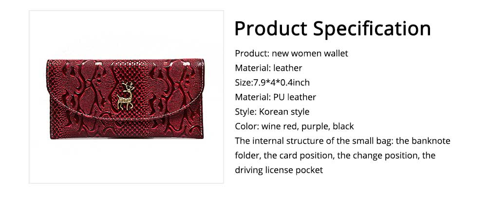 Two-fold Snake Leather Clutch, Ladies Sleek Minimalist Buckle Wallet with Card Holder, Coins Pocket, Driving License Card Slot 6