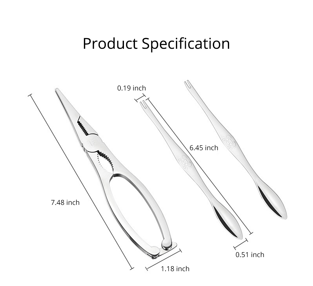 Eating Crab Tool 304 Stainless Steel Three Piece Suit Eating Hairy Crab Leg Crab Needle Kitchen Tool Gift Box Packing 9