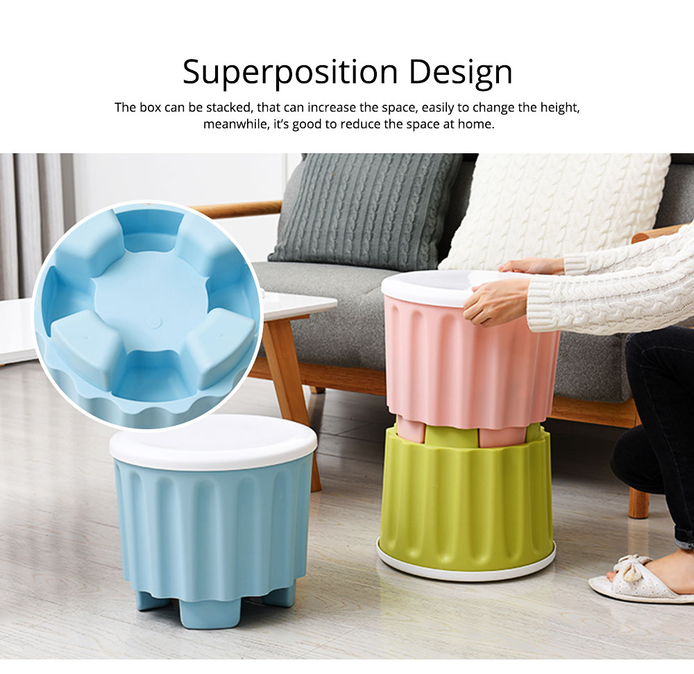 Large Capacity Container PP Material Box Multifunctional for Home Storage Stool 3