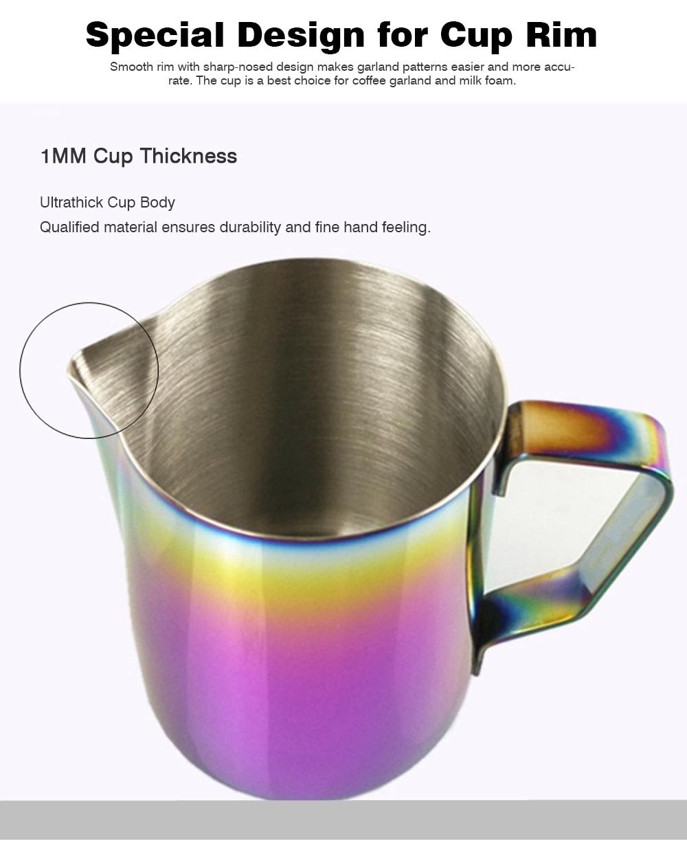 Teflon-coated Stainless Steel Garland Cup with Dazzling Color, 600ml Garland Mug Milk Foam Cup Fancy Cup 1