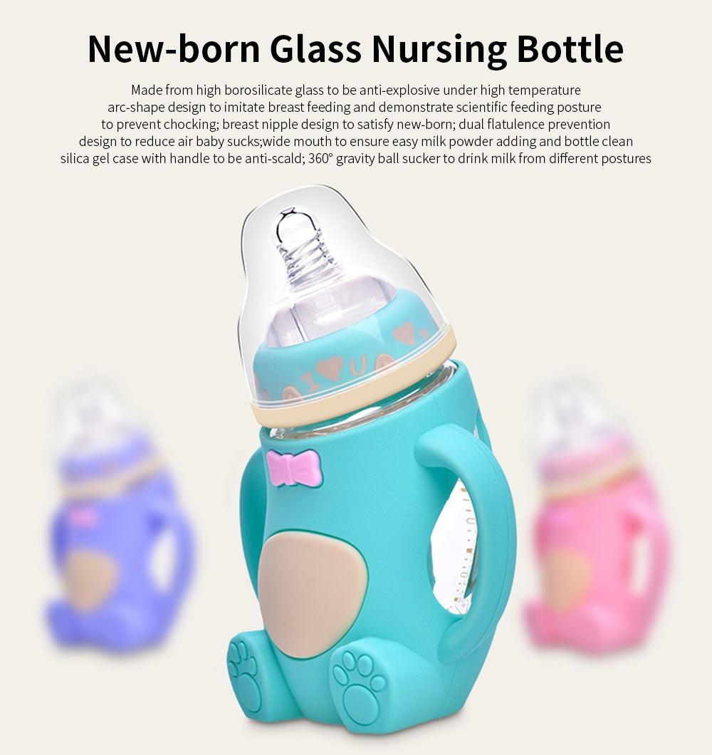 Glass Milk Bottle for Newborn, Wide Mouth Design Glass Feeder Anti-smash Feeding-bottle with Handle Anti-explosive Nursing Bottle 0