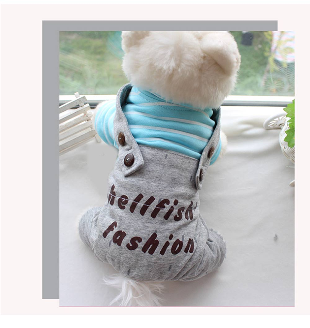 Stripe Hoodie Suspenders Cotton Casual Dog Clothes, New Style for Teddy Dogs in Autumn and Winter 2019 Pet Clothes 7