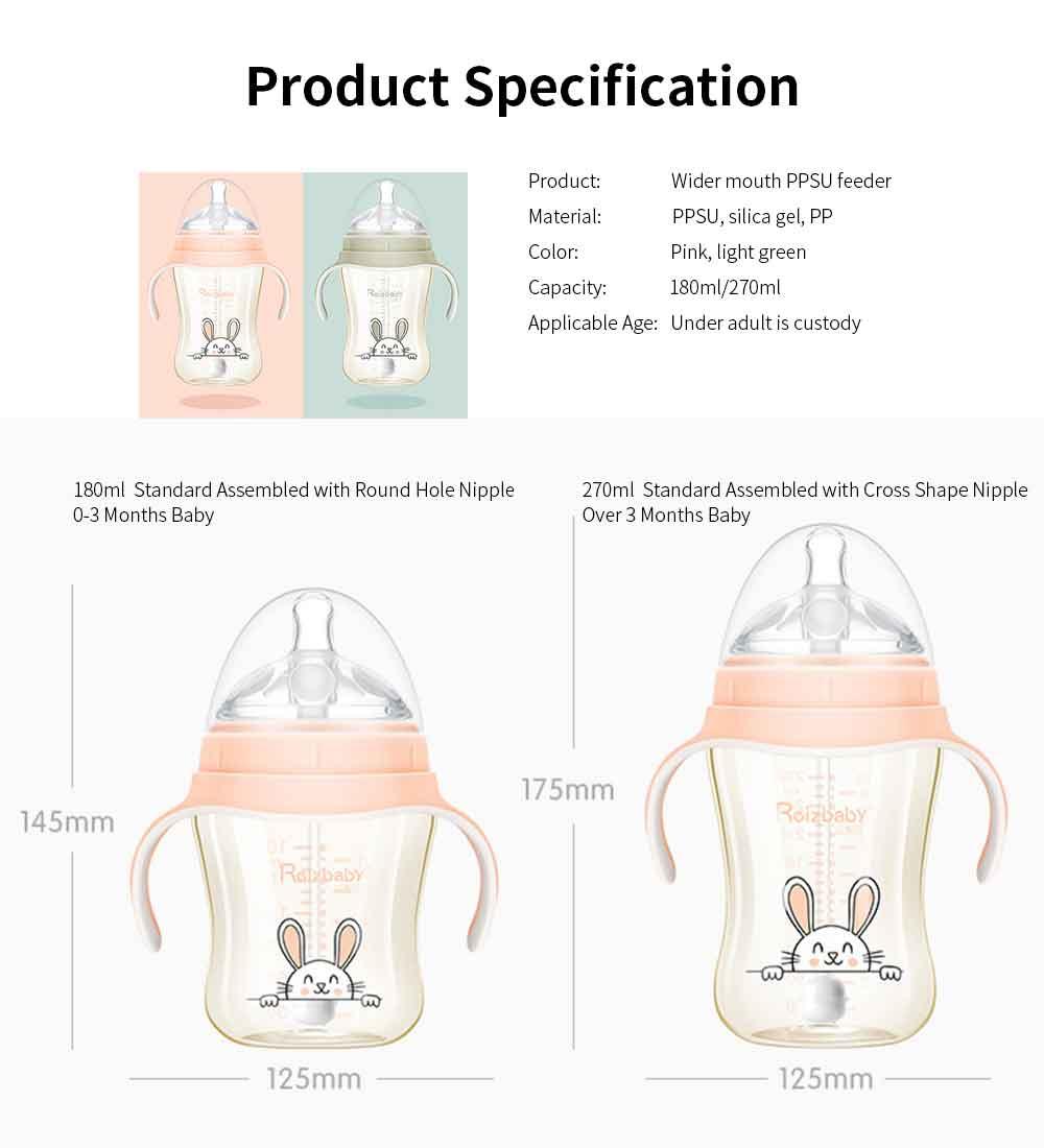 Feeding Bottle for Babies PPSU Nurser Super Wider Mouth with Handle Nursing Bottle with Sucker New-born Feeder EXW Wholesale 9