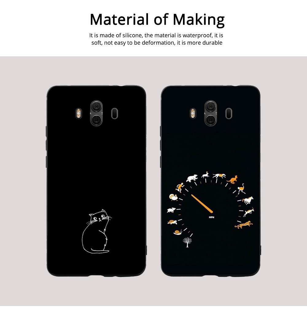 Cute Cat Phone Case, Protective Soft Silicone Cat Case Cover for HUAWEI Mate 10, Mate 20 5