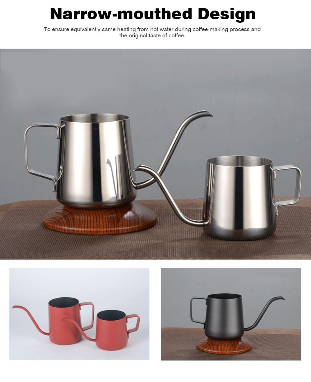 Stainless Steel Drip Coffee Maker Hand Drip Coffee Pot Narrow-mouthed Drip Coffee Urn Long Mouth Teflon Coffee Maker 2