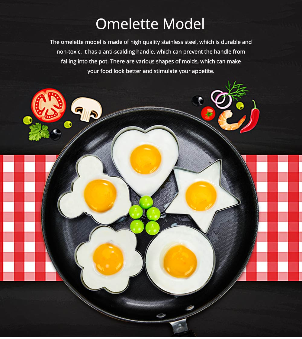Omelette Model Stainless Steel Creative DIY Love Type Set Fired Egg Rice and Vegetable Roll Ring Non-stick With Handle Omelette 0