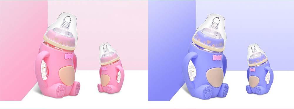 Newborn Baby Borosilicate Glass Feeding Bottle, Bear Infant Feeding Nursing Nipple Bottle with Silicone Handle 8