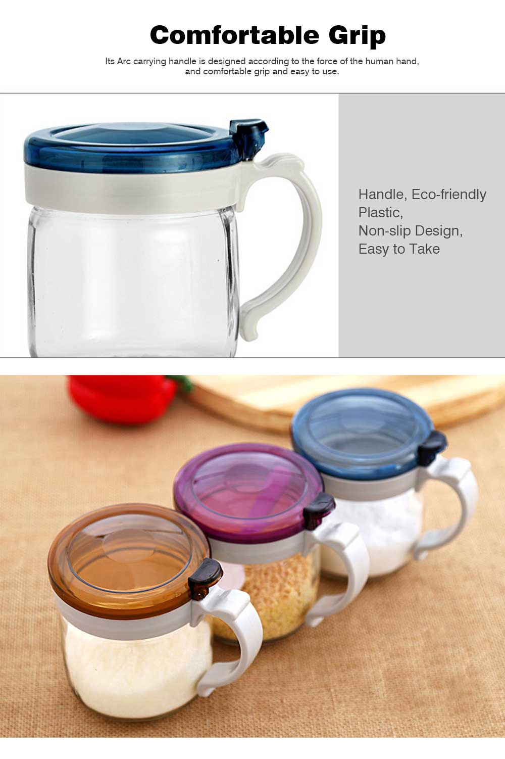 Glass Seasoning Pot Set, Seasoning Bottle Set with Standard 5g Control Spoon, for Placing Oil or Soy Sauce in the Kitchen 5