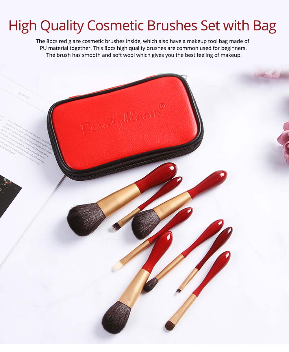 8pcs Red Glaze Makeup Brushes Soft Cosmetic Eyebrow Shadow Brush Tool Set with Bag for Freshman of Makeup 0