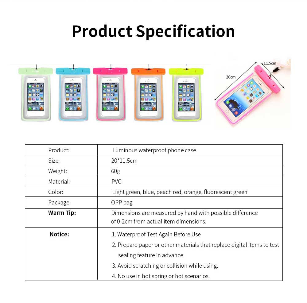 Diving Swimming Purpose Waterproof PVC Phone Case, High-end Transparent Phone Case for Outdoor Activities 6