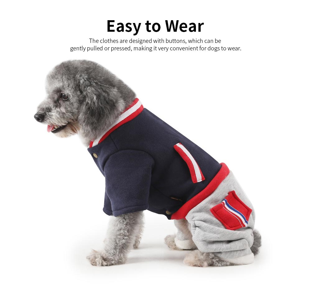 New Baseball Hoodies for Pets, Striped Pet Supplies for Four-legged Dogs, Stylish Fake Pocket Dog Clothes 3