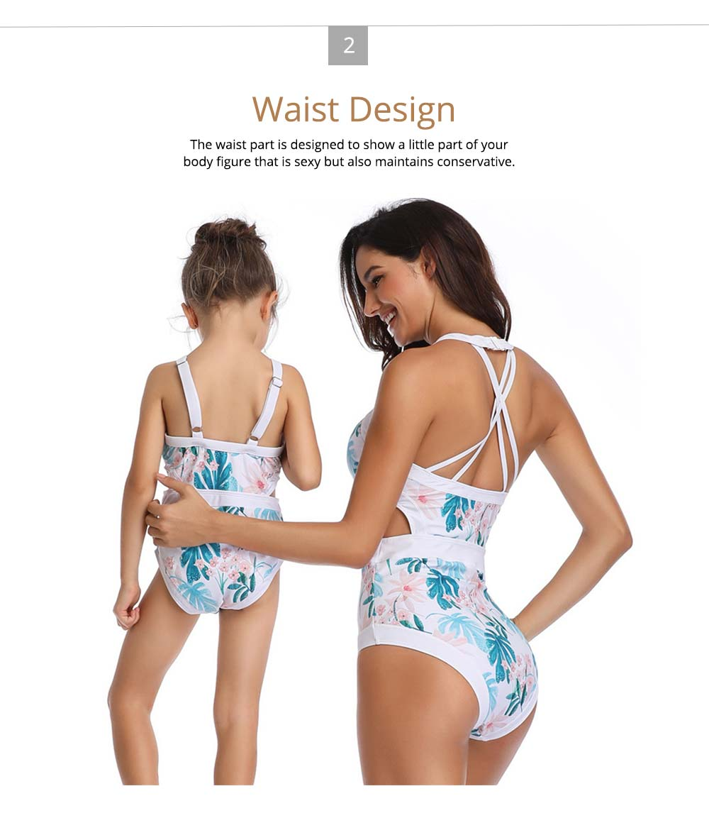 Parent-child Fashionable One-piece swimsuit, Family Matching Mommy and Me Floral Bikini Bathing Suits 2