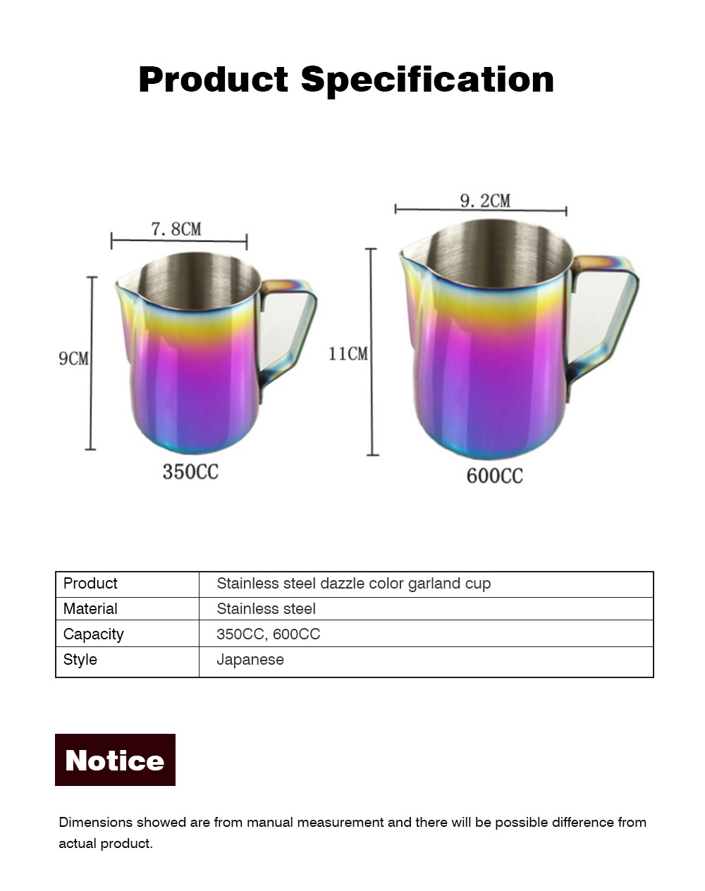 Teflon-coated Stainless Steel Garland Cup with Dazzling Color, 600ml Garland Mug Milk Foam Cup Fancy Cup 8