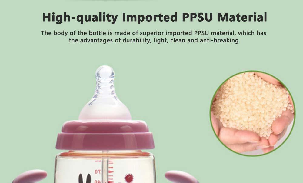 Purple Rabbit Ice-cream Shape PPSU Baby Feeding Bottle, Newborn Infant Learn Milk Water Nursing Feeding Bottle with Handle 2