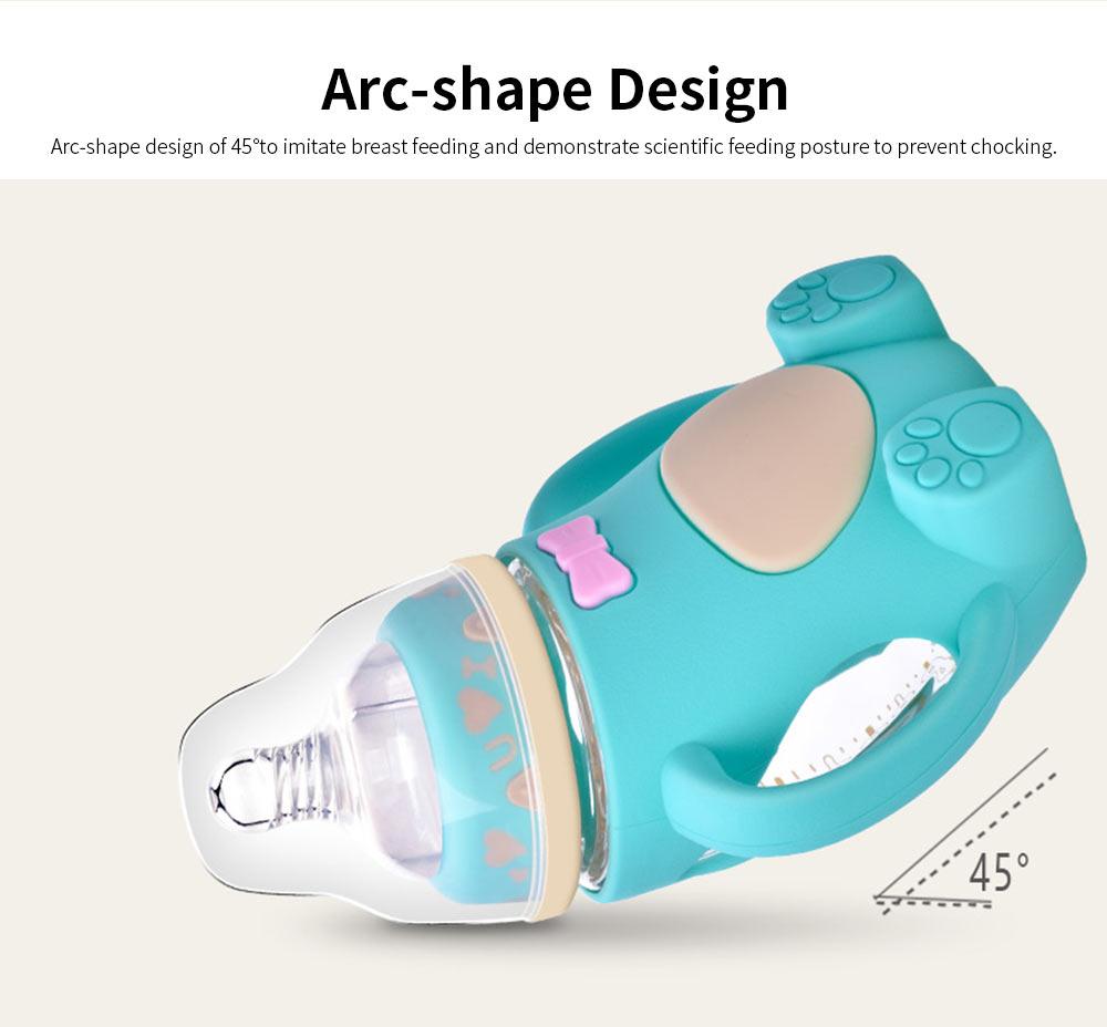 Glass Milk Bottle for Newborn, Wide Mouth Design Glass Feeder Anti-smash Feeding-bottle with Handle Anti-explosive Nursing Bottle 1