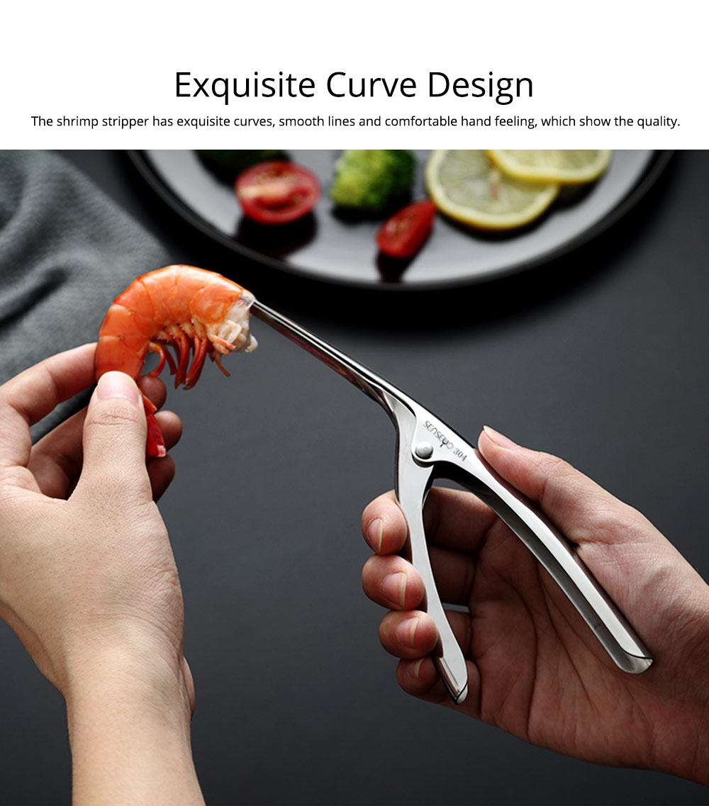 304 Stainless Steel Prawn Peeler Shrimp Peel Device Creative Kitchen Tools for Household Simple Operation Corrosion Resistance Shrimp stripper 3