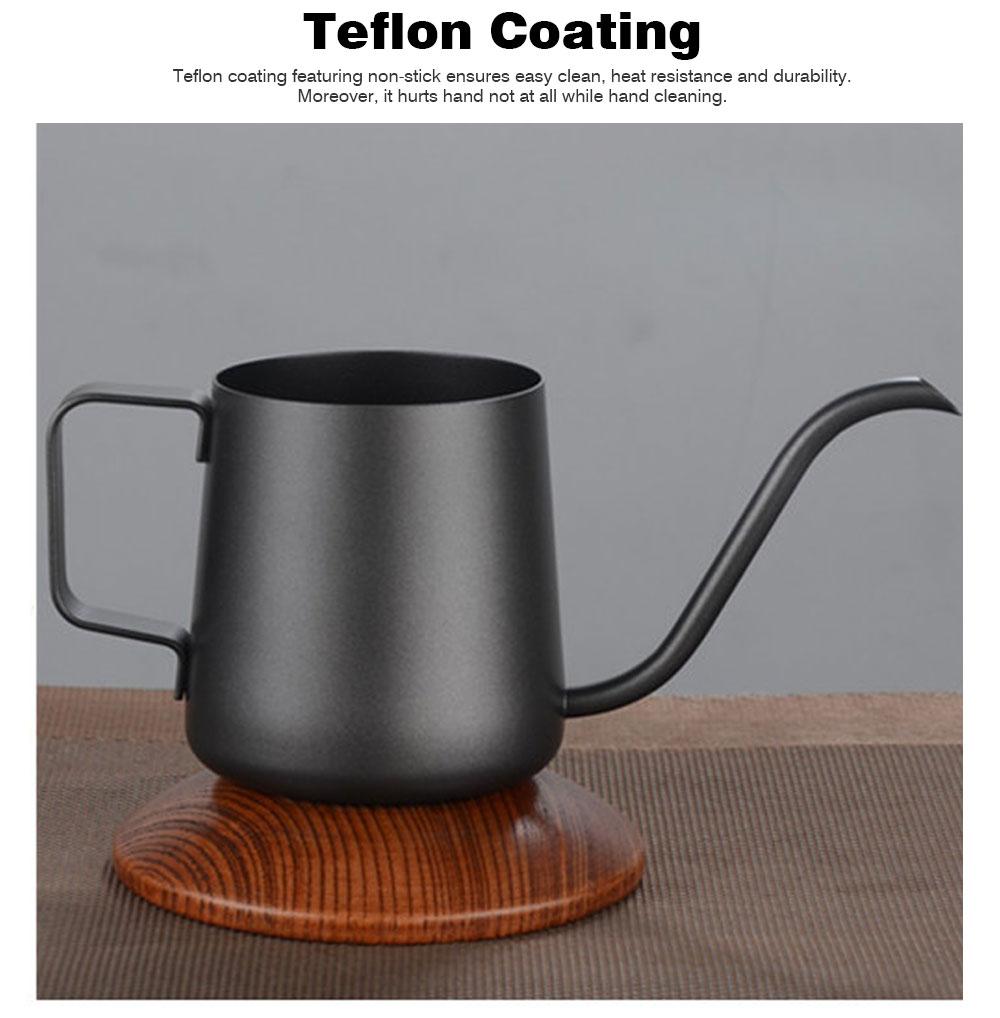 Stainless Steel Drip Coffee Maker Hand Drip Coffee Pot Narrow-mouthed Drip Coffee Urn Long Mouth Teflon Coffee Maker 3