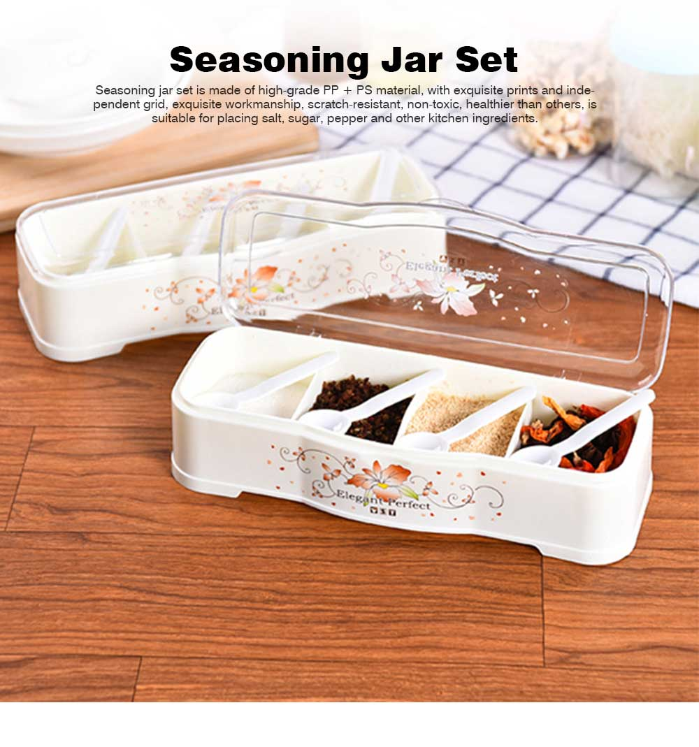Beige Transparent Seasoning Jar with Spoon, High-grade PP + PS Flip Four-grip Seasoning Bottle for Home 0