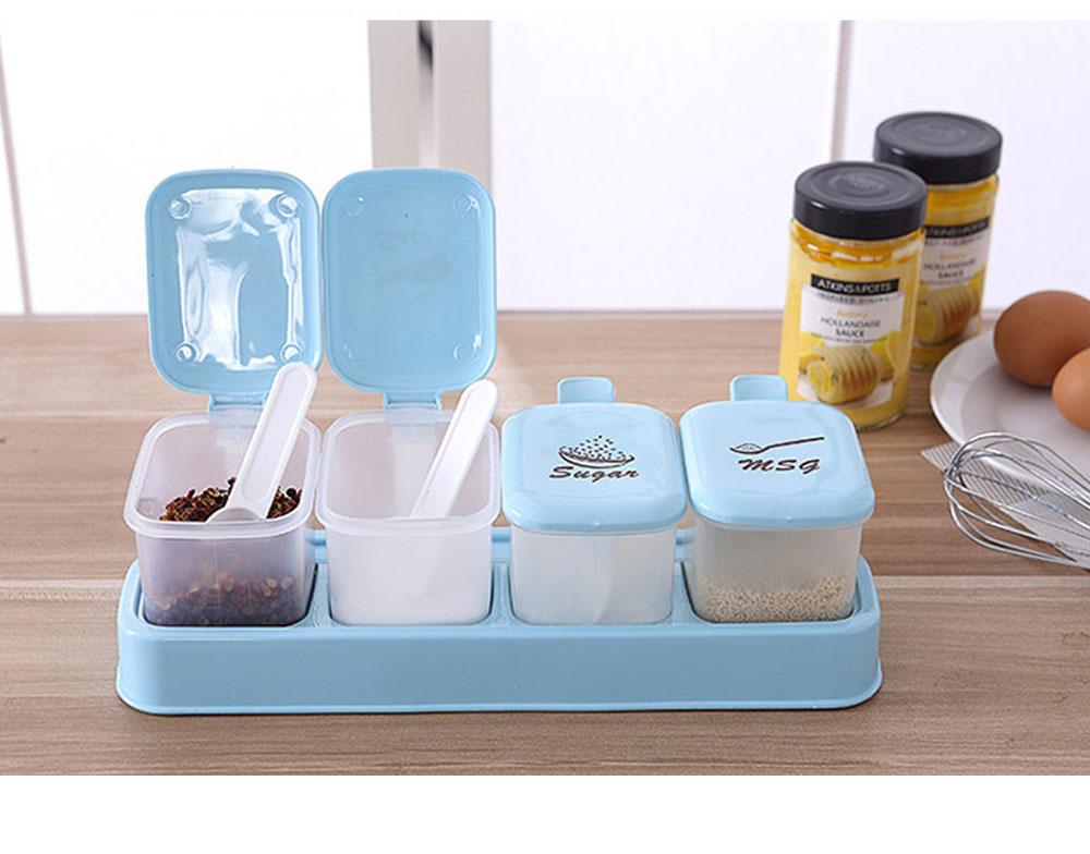 Sealed Independent Compartment Seasoning Jars Set, Kitchen Seasoning Cans for Placing Salt, Sugar, Pepper 5