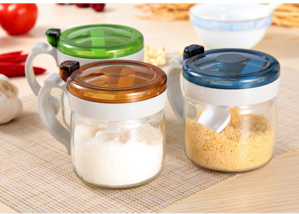 Glass Seasoning Pot Set, Seasoning Bottle Set with Standard 5g Control Spoon, for Placing Oil or Soy Sauce in the Kitchen 7