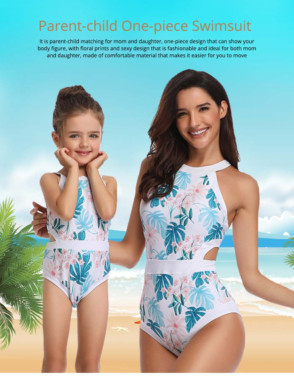 Parent-child Fashionable One-piece swimsuit, Family Matching Mommy and Me Floral Bikini Bathing Suits 0