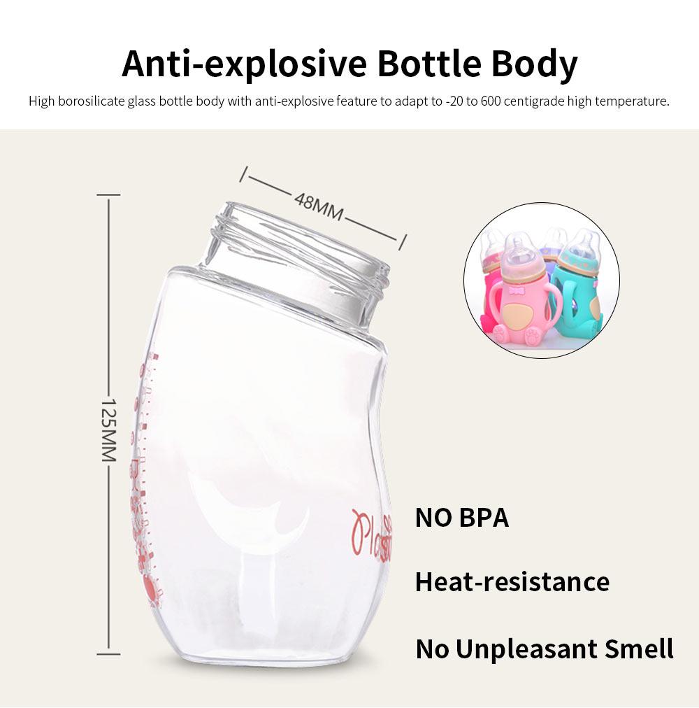 Glass Milk Bottle for Newborn, Wide Mouth Design Glass Feeder Anti-smash Feeding-bottle with Handle Anti-explosive Nursing Bottle 5