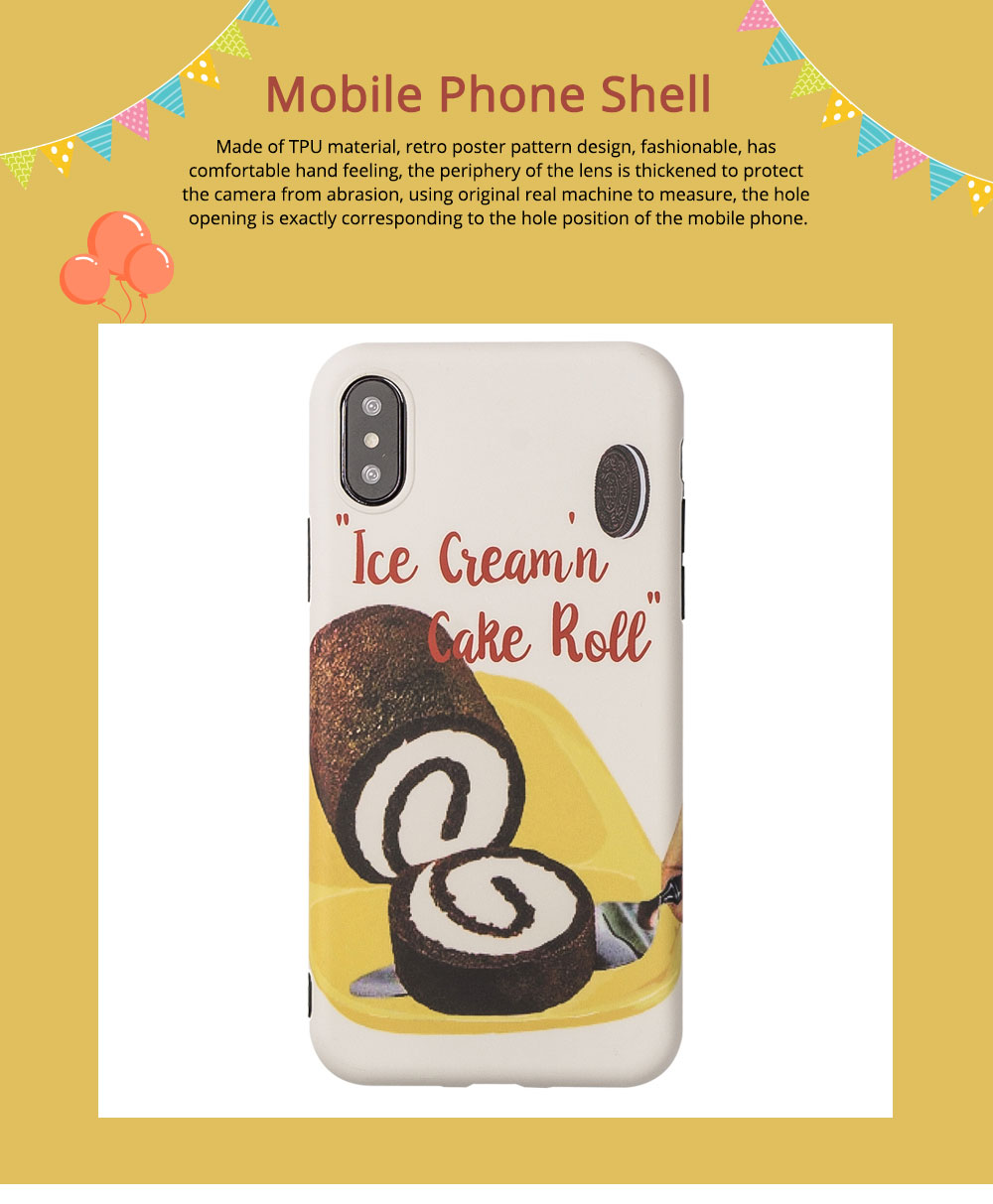 Original Retro Poster Ice Cream Cake Soft Phone Protective Cover for iPhone xs max/x/7 plus/6/8 Mobile Phone Shell 0