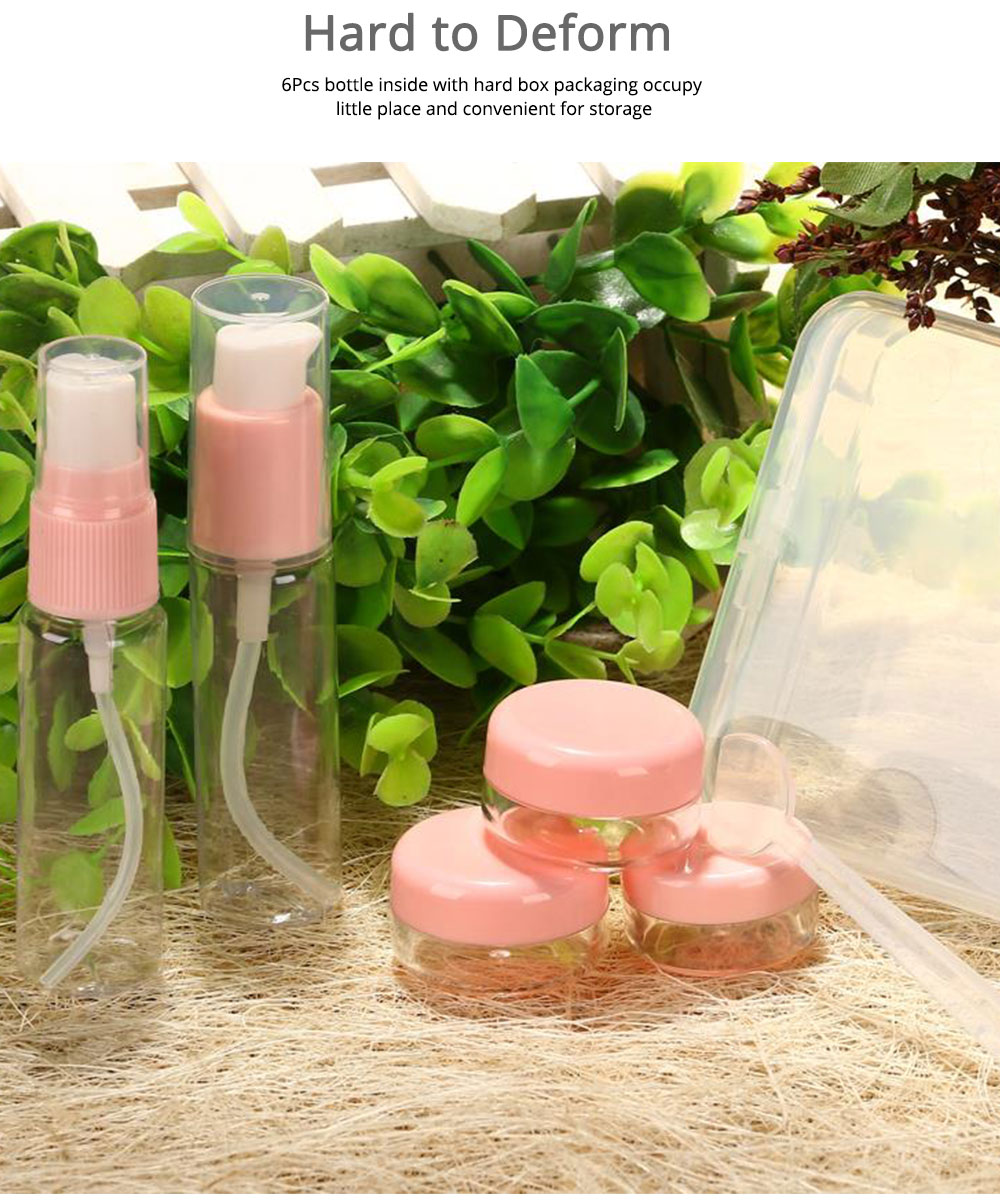 Travel Mini Plastic Transparent Empty Cosmetic Make Up Container Bottle Jar Lotion Cream Shampoo 6pcs/set 5