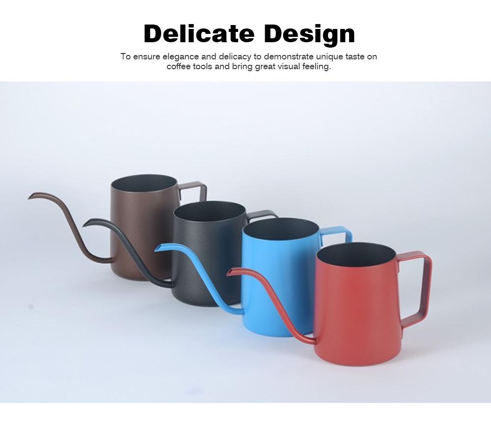 Stainless Steel Drip Coffee Maker Hand Drip Coffee Pot Narrow-mouthed Drip Coffee Urn Long Mouth Teflon Coffee Maker 1
